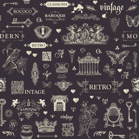 Hand drawn on the theme of vintage art objects, furniture and Antiques in retro style. Drawing chalk on the blackboard.