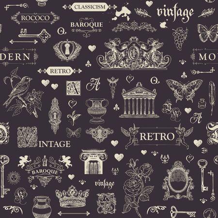 Handgezeichnet zum Thema Vintage-Kunstobjekte, Möbel und Antiquitäten im Retro-Stil. Kreide an die Tafel zeichnen.