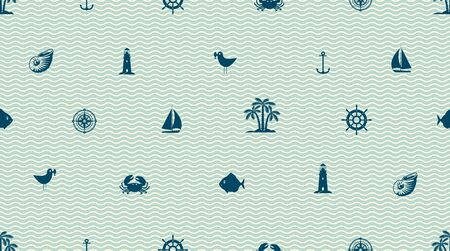 Vector seamless pattern on the travel theme with cute sea objects, anchor, sailboat, lighthouse, crab, fish, seagull, palm, seashell. Ilustração