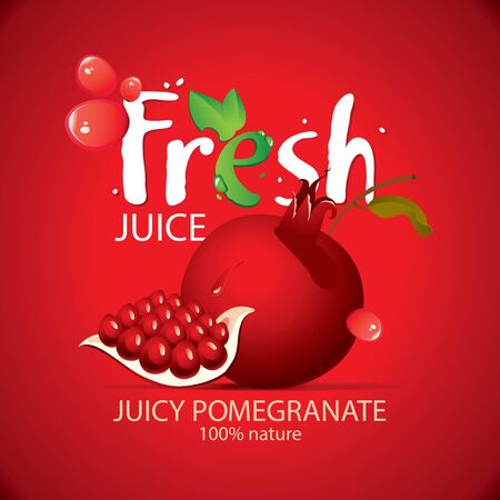 Banner or label for fresh pomegranate juice with garnet seeds and fruit, drops of juice and large lettering Fresh on the red