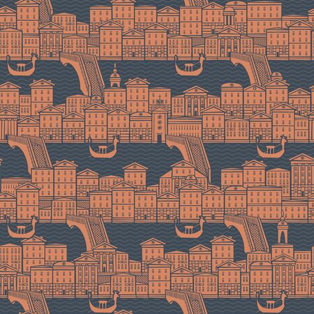 Seamless pattern with old hand drawn houses along the canals with bridges and gondolas.