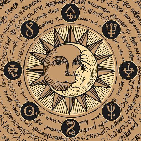 Sun and crescent moon in an octagonal star with magical inscriptions and symbols on the beige