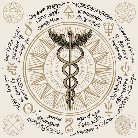 Caduceus with two snakes and wings on the background of an old illegible manuscript written in a circle. Medical symbol