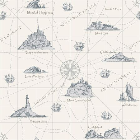 Fondo senza cuciture astratto di vettore sul tema del viaggio, dell'avventura e della scoperta. Vecchia mappa disegnata a mano con isole, fari, barche a vela e iscrizioni in stile retrò