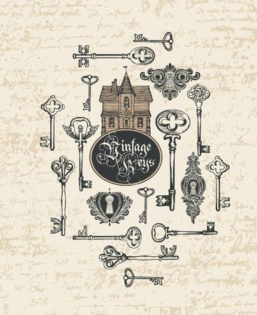 Vector banner with vintage keys, keyholes, old house and Gothic lettering in retro style. Hand-drawn illustration on abstract background of faded old manuscript with spots and blots