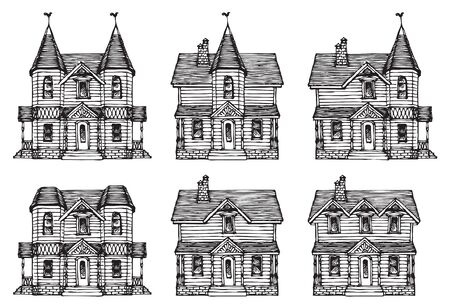 Set of hand drawn houses, old style building facades. Old houses, city buildings, doodle decorative elements collection. Outline black and white vector illustration. Coloring for children and adults. Foto de archivo - 127823716