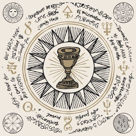 Vector banner on the theme of mysticism, magic, religion and the occultism. Hand drawn illustration of a Grail and other esoteric and masonic symbols on the background of an old illegible manuscript Illustration