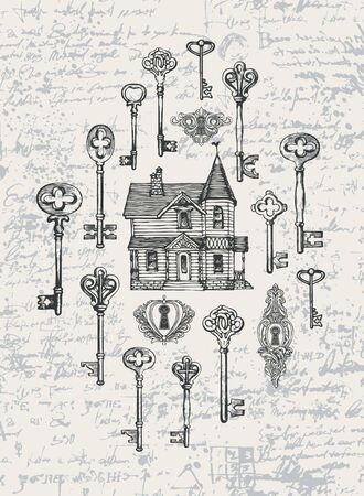 Vector banner with vintage keys, keyholes and old house in retro style. Hand-drawn illustration on an abstract background of an old manuscript with spots and blots Illusztráció