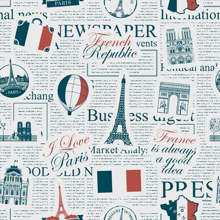 Vector seamless pattern on France and Paris theme with inscriptions, architectural landmarks and flag of French Republic in retro style on the newspaper background. Wallpaper, wrapping paper, fabric