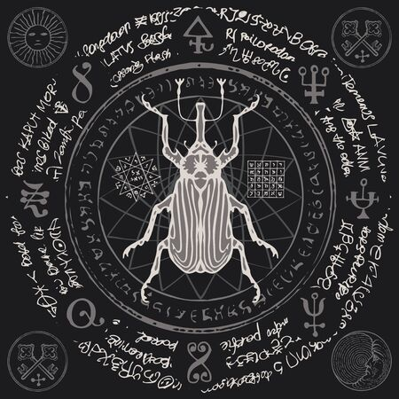 Illustration of a hand-drawn lumberjack beetle on an old abstract illegible text written in a circle with magical inscriptions and symbols.