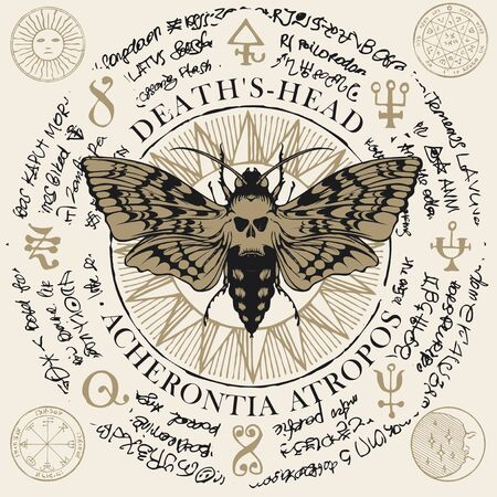 Illustration of a butterfly Dead head with skull-shaped pattern on the thorax on an old abstract background with magical inscriptions and symbols. Vector banner in retro style