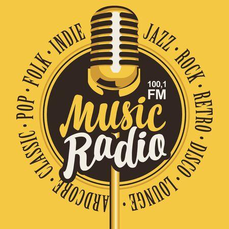 Bannière vectorielle pour station de radio musicale avec microphone et inscription dans un style rétro.