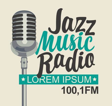 Vector banner for jazz music radio with microphone and inscription in retro style. Vettoriali