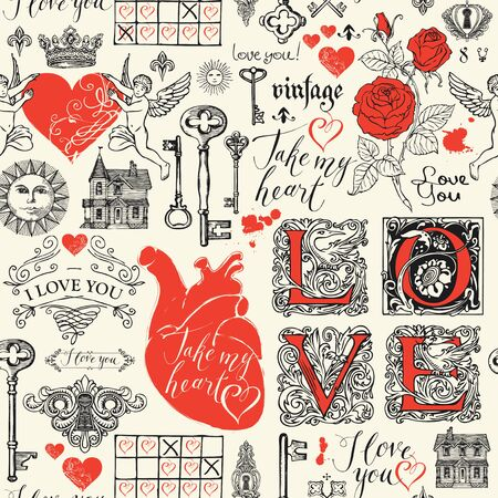 Abstract background with hearts, roses, keys, keyholes, cupids and handwritten inscriptions on light backdrop. Vector seamless pattern on the theme of love and Valentine day in retro style