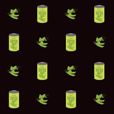 Vector seamless pattern with green peas and green pea cans in retro style on black background. Repeatable flat illustrations for canned green peas