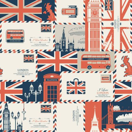 Vector seamless pattern on UK and London theme with envelopes, British symbols, architectural landmarks and flag of the United Kingdom in retro style.