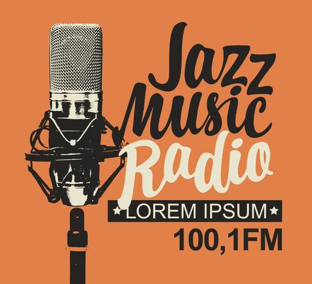 Vector banner for jazz music radio with microphone and inscription in retro style. Ilustração