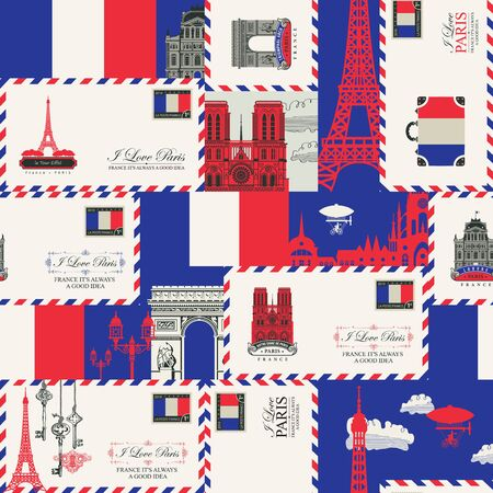 France and Paris theme with envelopes, French symbols, architectural landmarks and flag of French republic in retro style.