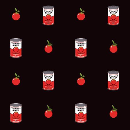 Vector seamless pattern with tomatoes and canned tomato soup cans in retro style on black background. Repeatable flat illustrations for condensed tomato soup Vettoriali