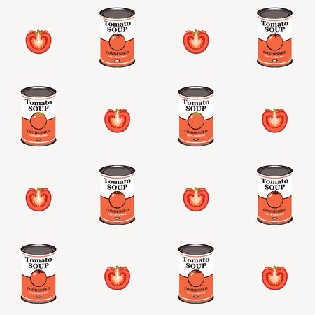 Vector seamless pattern with tomatoes and canned tomato soup cans in retro style on light background. Repeatable flat illustrations for condensed tomato soup Vettoriali