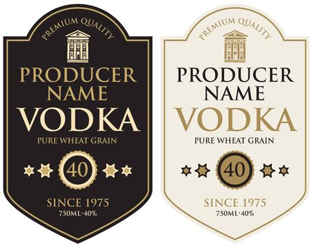 Set of two vector labels for vodka in the figured frame with old building and inscriptions in retro style. Stock Illustratie