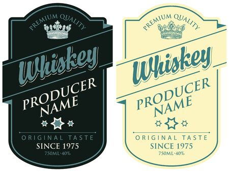 Set of two  labels for whiskey premium quality in the figured frame with crown and calligraphic inscription in retro style Standard-Bild - 128093423
