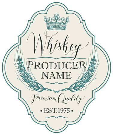 Label for whiskey in the figured frame with crown, ears of barley and handwritten inscription on light  in retro style Standard-Bild - 128093428