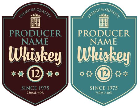 Set of two  labels for whiskey premium quality in the figured frame with old building and calligraphic inscription in retro style Standard-Bild - 128093430