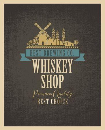 Etichetta per un negozio di whisky con l'immagine del villaggio e del mulino a vento su un tessuto in stile retrò Vettoriali