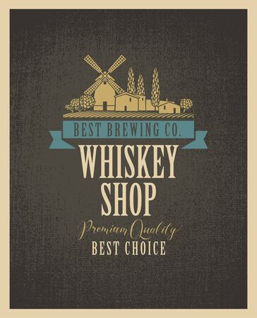Label for a Whiskey shop with a picture of the village and windmill on a textile in retro style