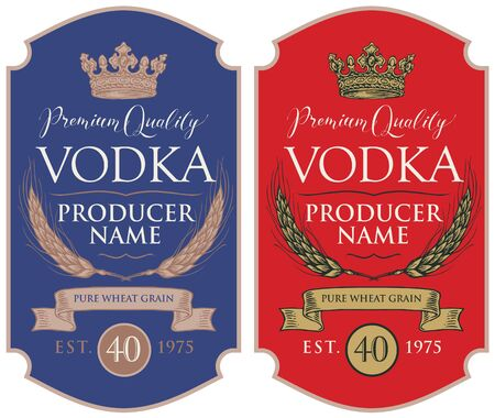 Set of two labels for vodka in the figured frame with crown, ears of wheat, ribbon and inscriptions in retro style.