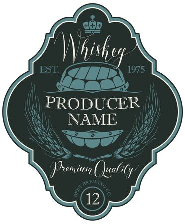 Label for whiskey in the figured frame with crown, ears of barley, wooden barrel and handwritten inscription in retro style Illustration
