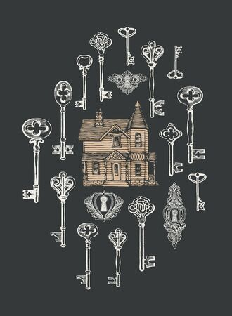 Vintage keys, keyholes and old house in retro style.