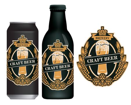 Vector label for craft beer in retro style on black background, decorated by wheat or barley ears, hops and overflowing glass of frothy beer. Sample beer label on beer can and beer bottle