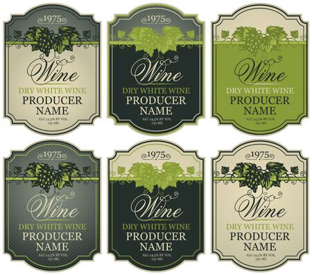Vector set of labels for white wine with bunches of grapes and calligraphic inscriptions in retro style in figured frames