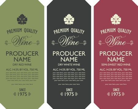 Set of three vector labels for red and white wine with vine leaves, calligraphic inscriptions and place for text in retro style