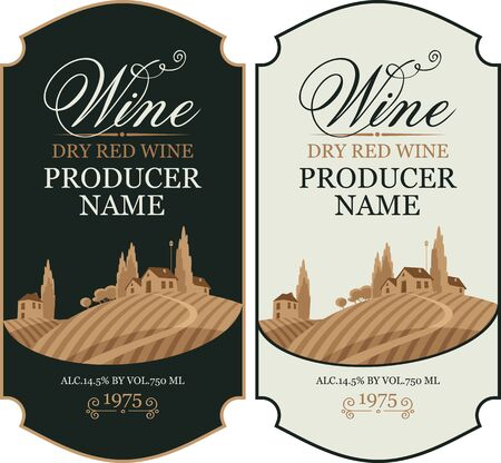 Set of two vector wine labels with calligraphic inscription and european rural landscape in figured frame in retro style