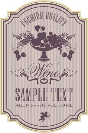 Vector wine label with a bowl of fruit, berries and lilac in retro style with calligraphic inscription in figured frame