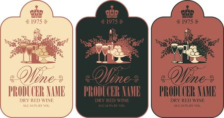 Vector set of wine labels with still life and calligraphic inscription in figured frame in retro style