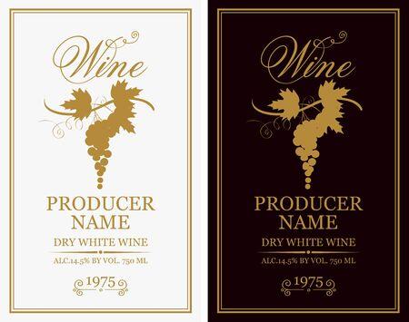 Vektor-Set von zwei Etiketten für Wein mit Trauben und kalligraphischen Inschriften im Retro-Stil