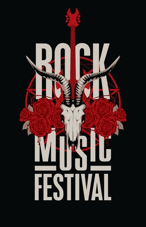 Vector banner or emblem with words Rock music festival decorated with goat skull, electric guitar and red roses with barbed wire. Creative illustration for t-shirt design in modern style