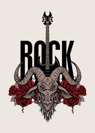 Vector music banner on the Rock theme decorated with goat head, electric guitar and red roses with blood and barbed wire. Creative illustration for t-shirt design in modern style