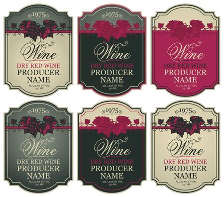 Vector set of labels for red wine with bunches of grapes and calligraphic inscriptions in retro style in figured frames