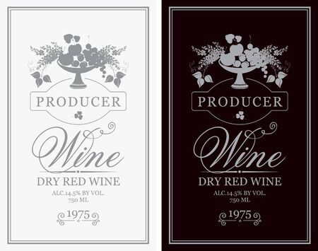 Vector set of wine labels with a bowl of fruit, berries and lilac in retro style with calligraphic inscriptions