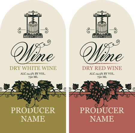 Vector set of two labels for wine with hand-drawn bunches of grape, wine press and calligraphic inscription in retro style