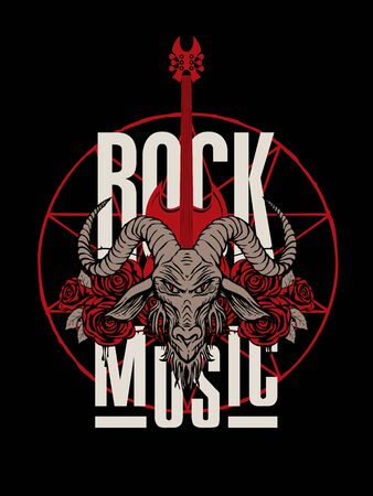 Vector banner on the Rock music theme decorated with goat head, electric guitar and red roses with blood and barbed wire. Creative illustration for t-shirt design in modern style Ilustração
