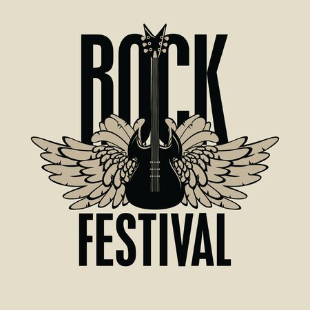 Vector music banner or poster with words Rock festival decorated with electric guitar and wings. Creative illustration for t-shirt design in modern style Banque d'images - 129340935