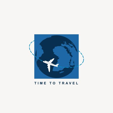 Vector banner with a passenger plane flying around the planet Earth and words Time to travel. Air transportation.