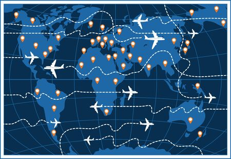 Vector banner or card on the theme of air travel. Flat illustration with airplanes and their dotted trajectories on a world map background with pointers.