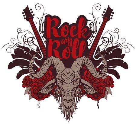 Vector music banner with goat head, electric guitar, wings, red roses, drips of blood and inscription Rock and roll. Creative illustration for t-shirt design in modern style Banque d'images - 129341217